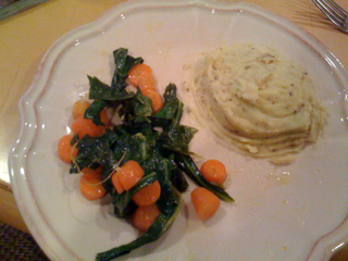 Dijon Mashed Potatoes w/ Mango Lime Carrots & Greens